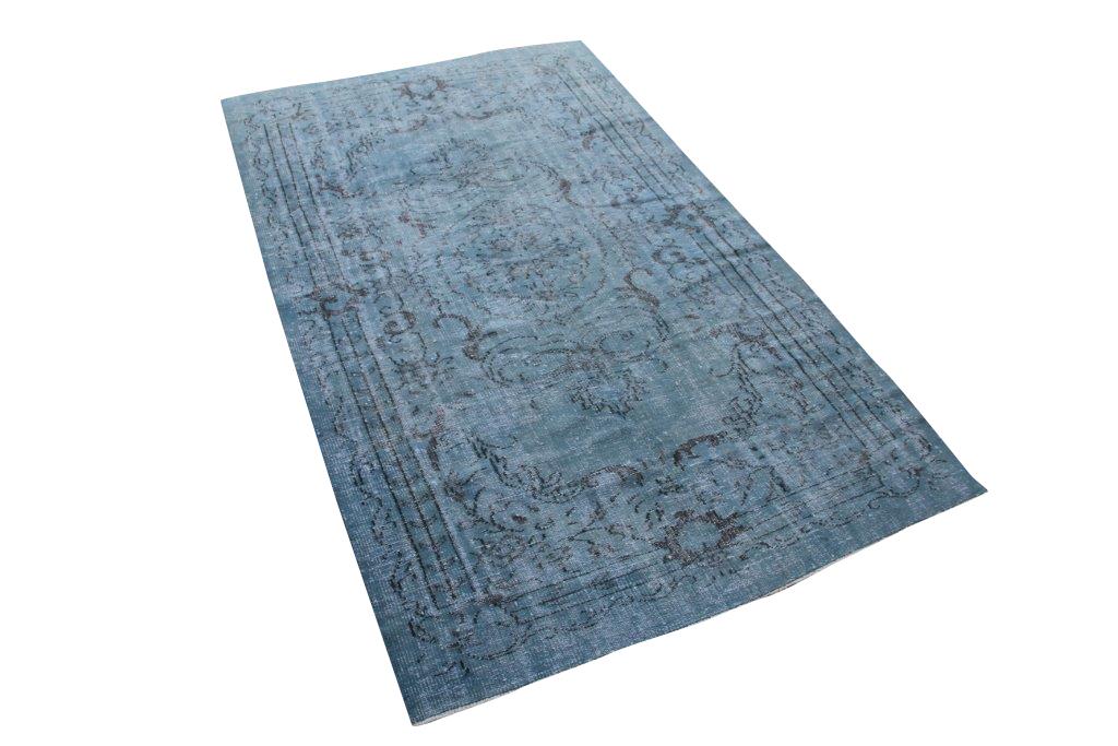 Jeansblauw vintage vloerkleed nr 4617 (282cm x 167cm)