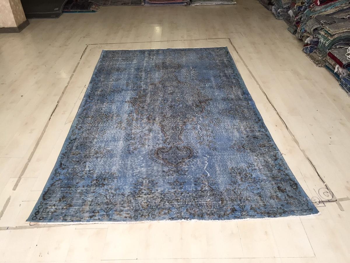 Grijsblauw vintage vloerkleed nr 4619 (288cm x 172cm)