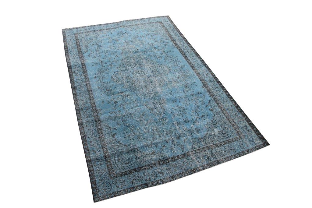 Jeansblauw vintage vloerkleed nr 4644 (260cm x 165cm)