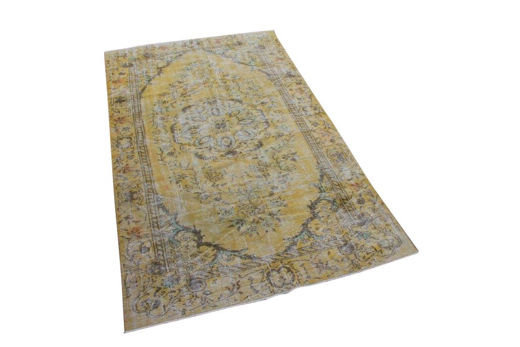 Geel vintage vloerkleed nr 4723 (269cm x 158cm)