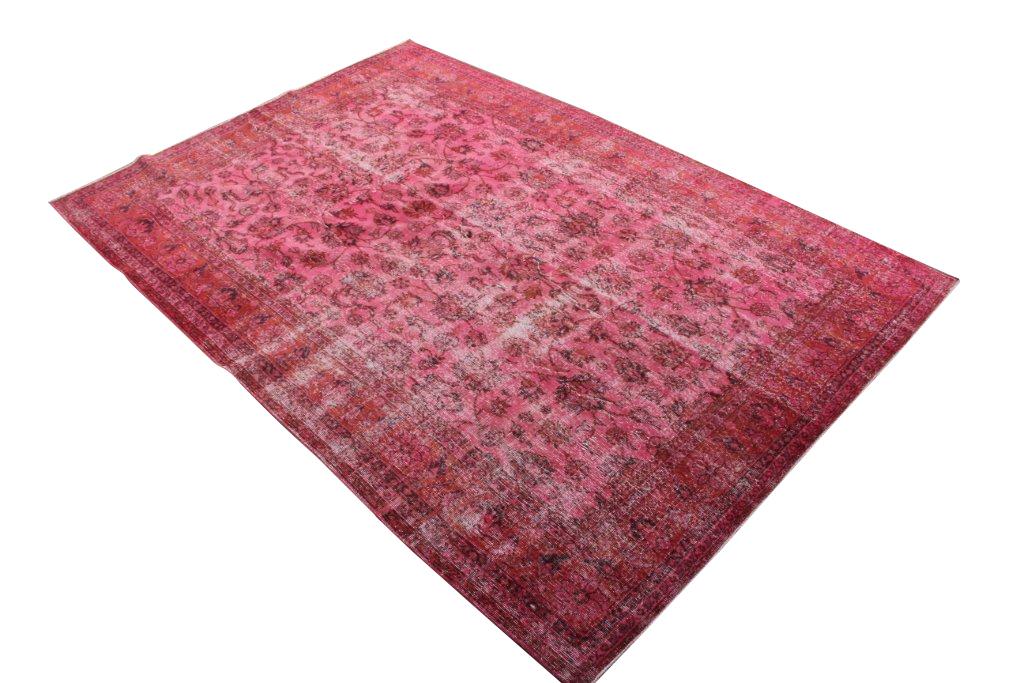 Rood roze recoloured vloerkleed nr 483   (314cm x 218cm) Gereserveerd