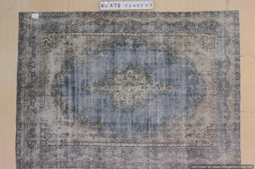 Grijsblauw  30 tot 80 jaar oud vloerkleed  (geschoren en gewassen) 338cm x 242cm, no 48470 Leverbaar vanaf 25 februari, nu bestelbaar