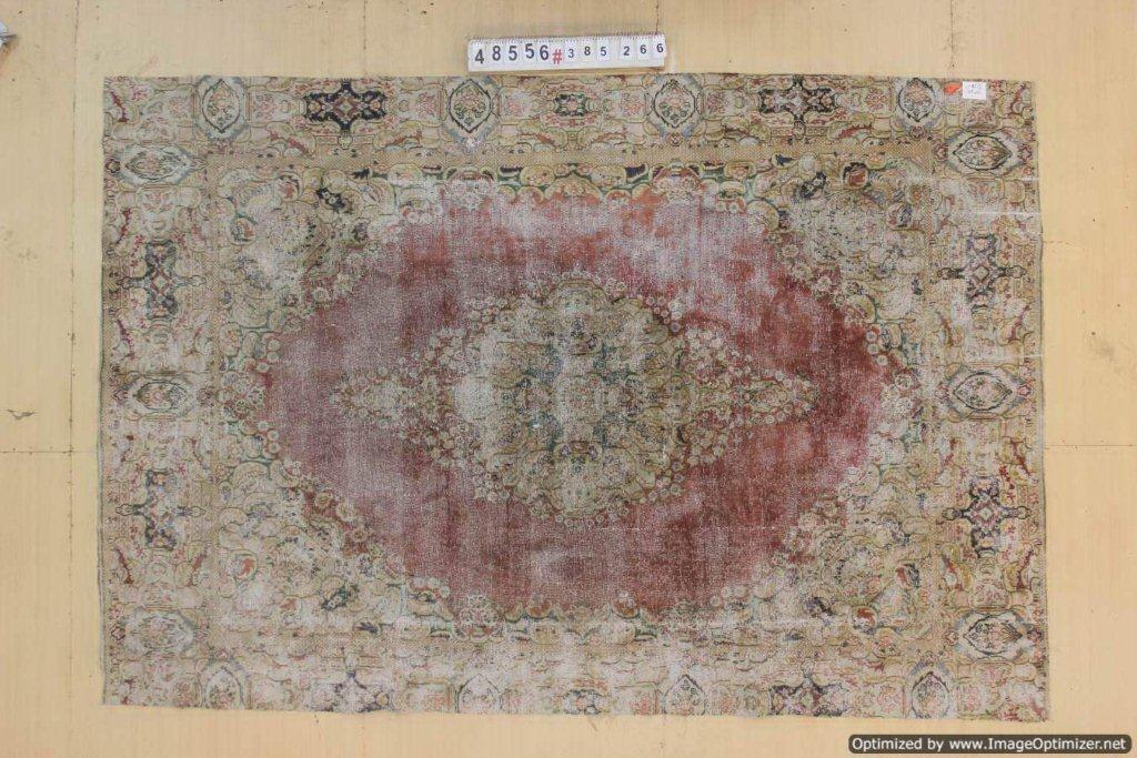 Rood met zandkleur 30 tot 80 jaar oud vloerkleed (geschoren en gewassen) 385cm x 266cm, no 48556 Leverbaar vanaf 10 februari, nu bestelbaar