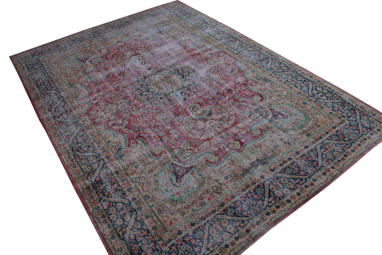 VERKOCHT Vintage recoloured perzisch tapijt 50075 (370cm x 264cm)