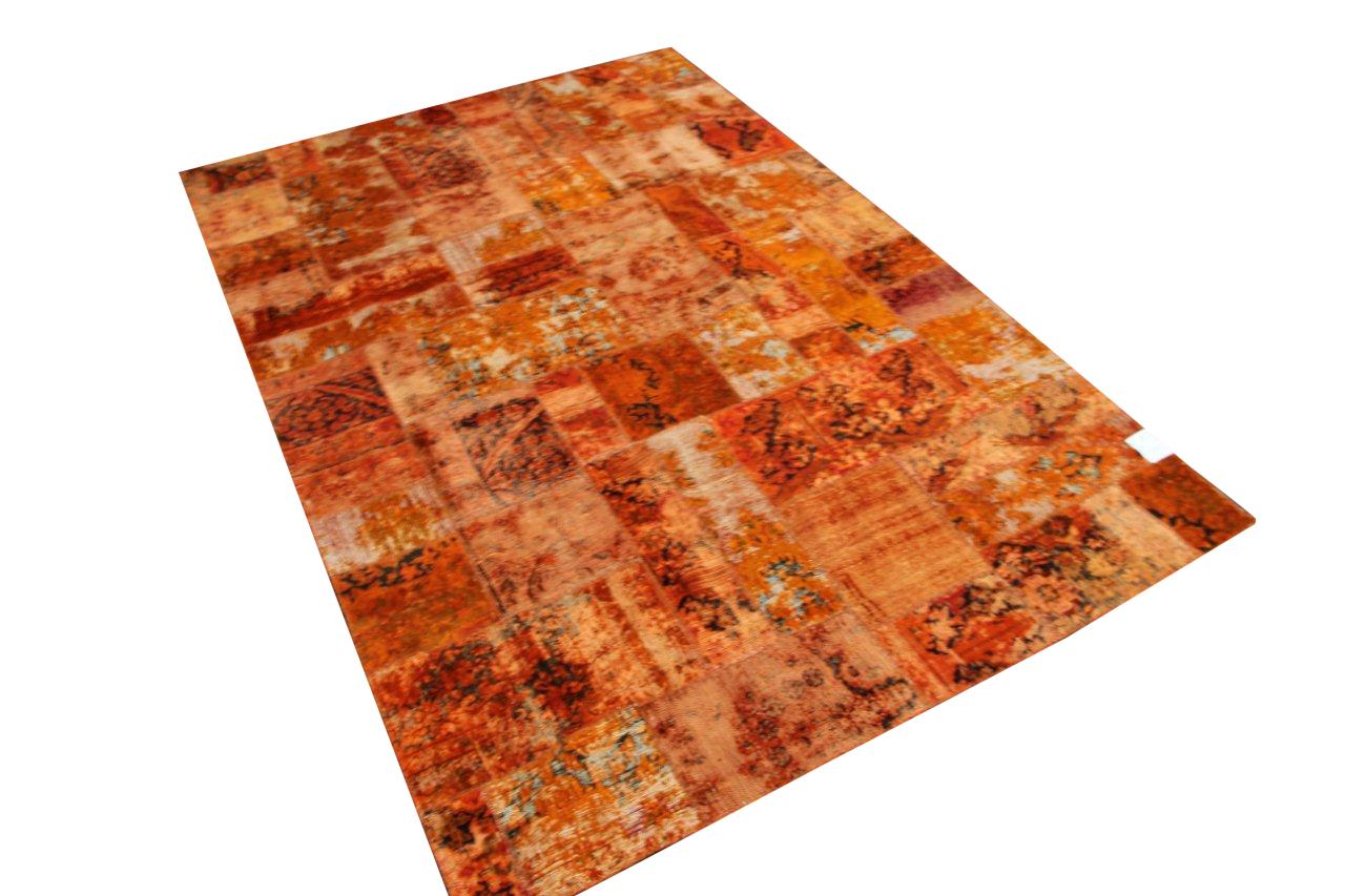 Oranje patchwork vloerkleed uit Iran 303cmx200cm, no 50115 VOS