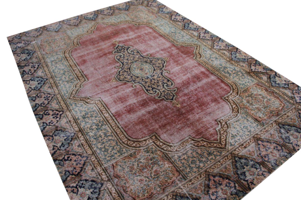 Vintage recoloured perzisch tapijt 50118 (385cm x 276cm)