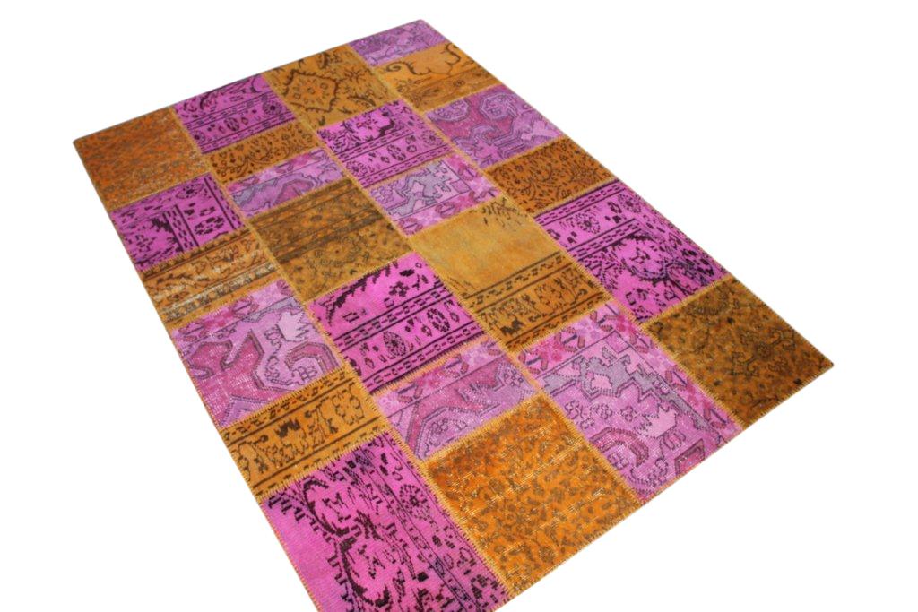 Geel paars patchwork vloerkleed 5085D (244cm x 169cm)  VERKOCHT HAPPY PANDA