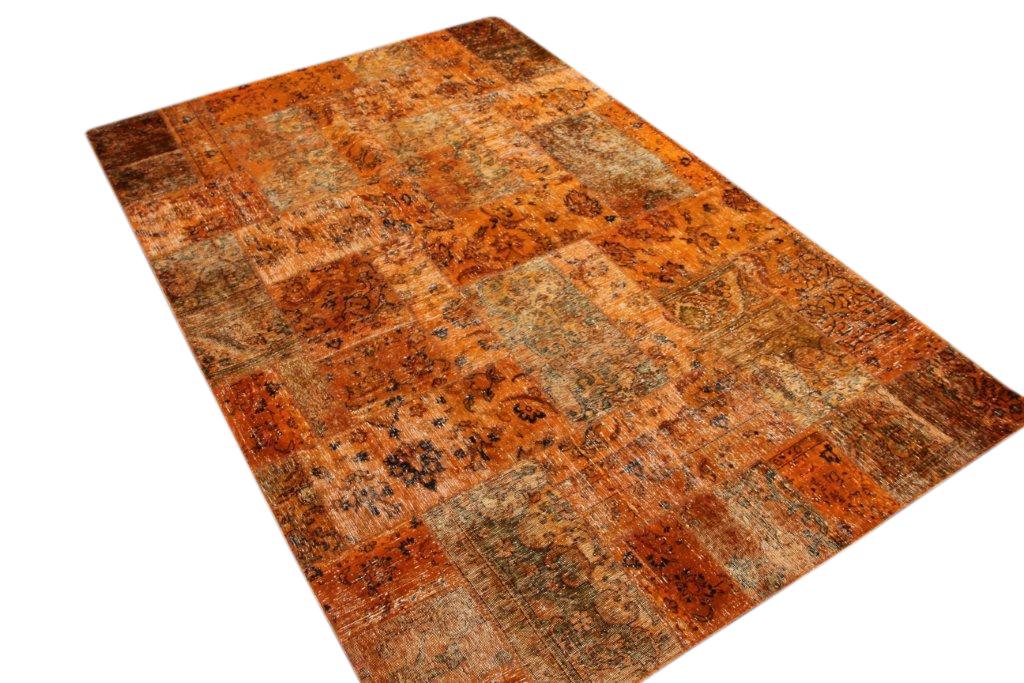Oranje patchwork vloerkleed 305cm x 202cm, no 51211 gemaakt uit oude perzen.