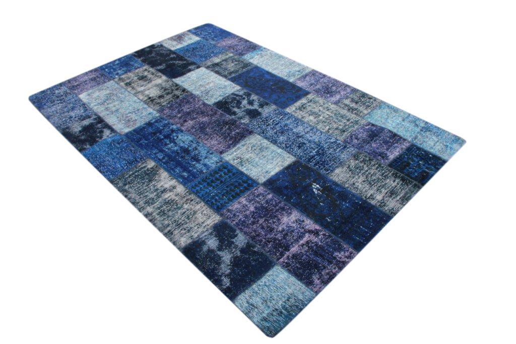 Patchwork vloerkleed, donkerblauw, 303cm x 211cm
