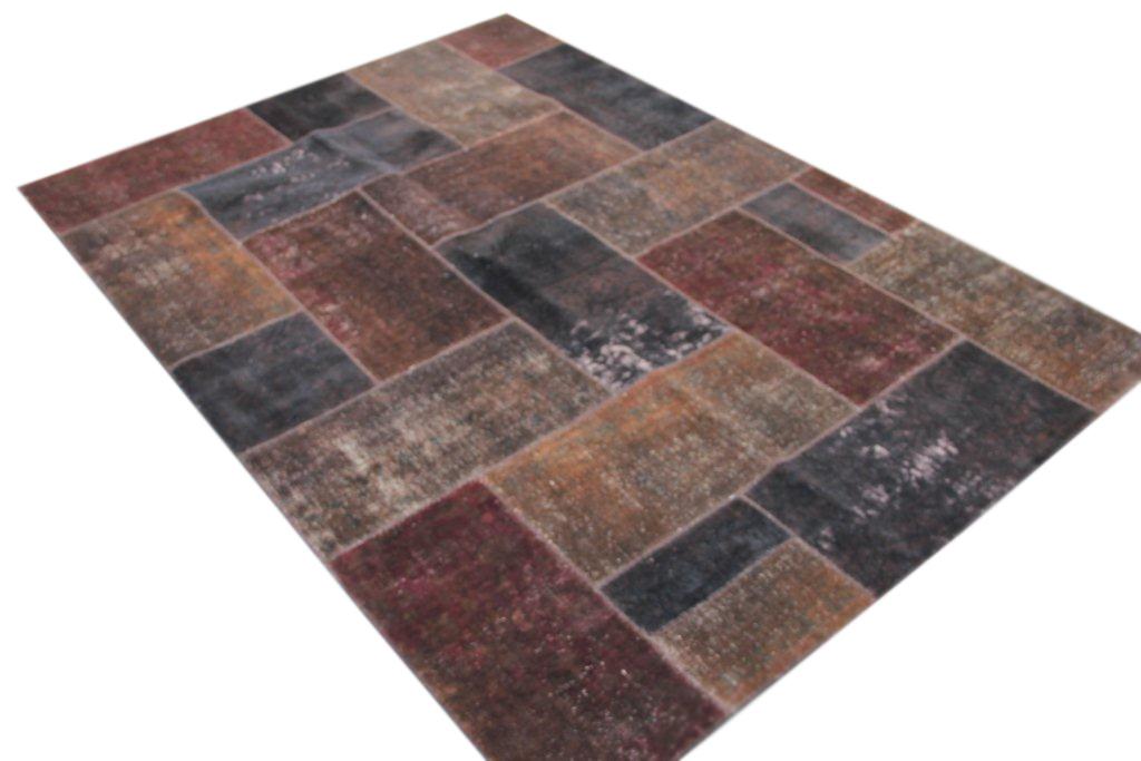 Patchwork vloerkleed, bruin, 303cm x 211cm