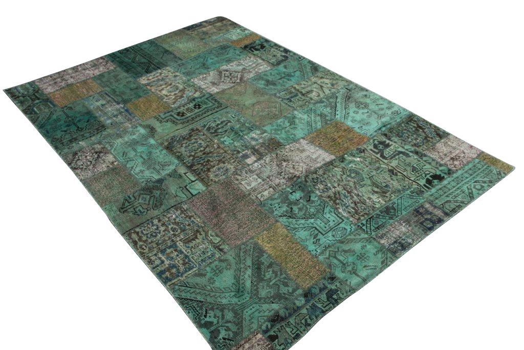 Groen blauw patchwork kleed  299cm x 201cm, no 51215 gemaakt uit oude perzen.