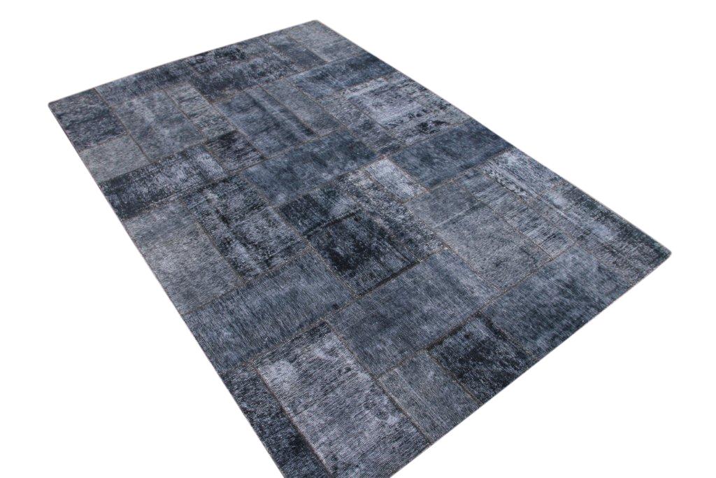 Blauw grijs Patchwork vloerkleed  305cm x 202cm, no 51217 gemaakt uit oude perzen.
