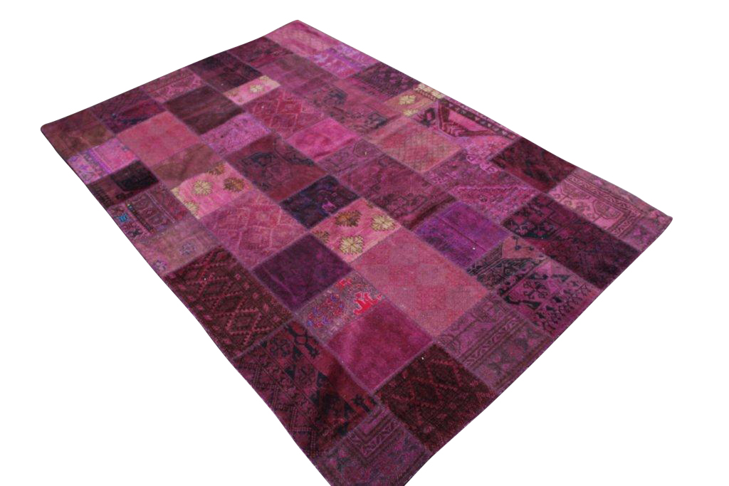 Aubergine/paars patchwork vloerkleed  301cm x 200cm, no 51221 gemaakt uit oude perzen.