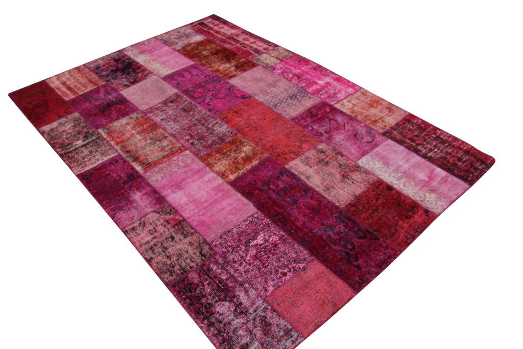 Patchwork vloerkleed, roze rood, 303cm x 211cm
