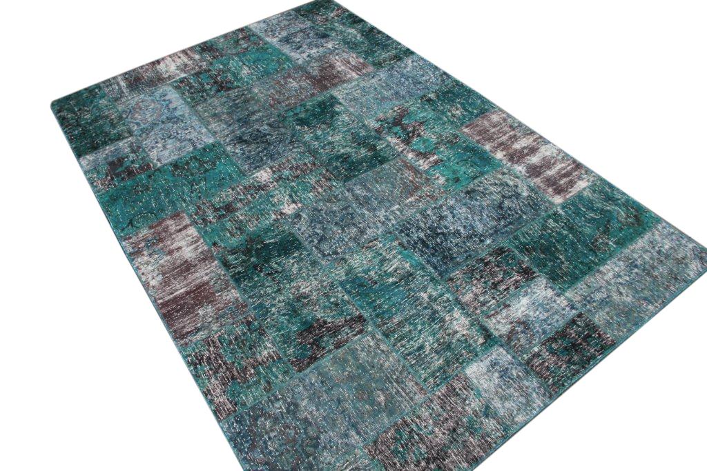 Aqua zeegroen patchwork vloerkleed  305cm x 204cm nr51224