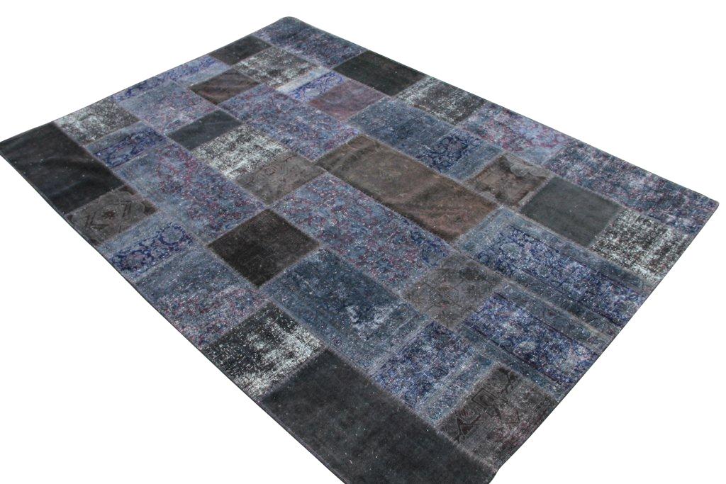 Grijs blauw patchwork vloerkleed 301cm x 211cm, no 51225 gemaakt uit oude perzen.