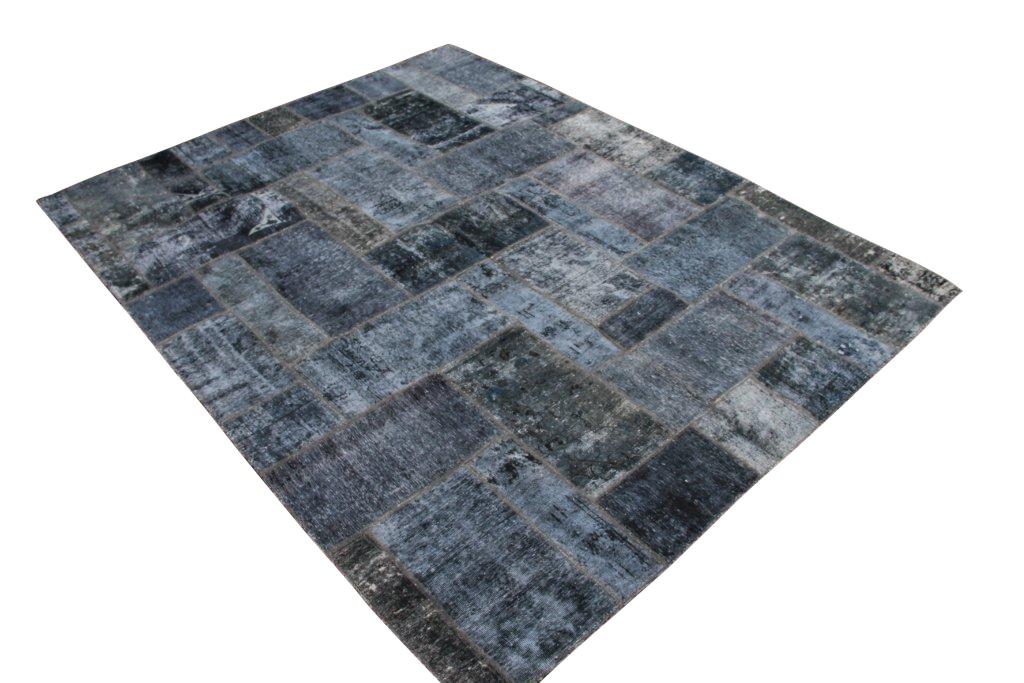 Blauw grijs patchwork vloerkleed uit Iran 304cm x 240cm, no 51227 gemaakt uit oude perzen.