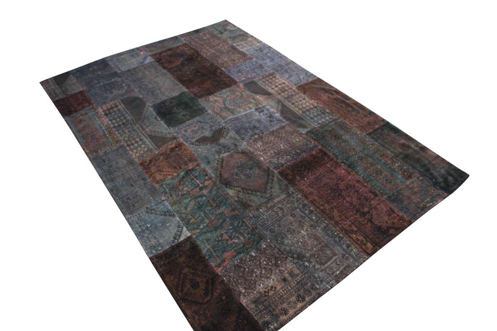 Patchwork vloerkleed, bruin donkergroen, 301cm x 205cm