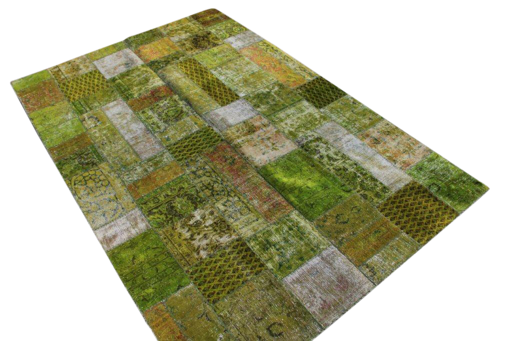 Grasgroen patchwork karpet  299cm x 199cm, no 51229 gemaakt uit oude perzen.