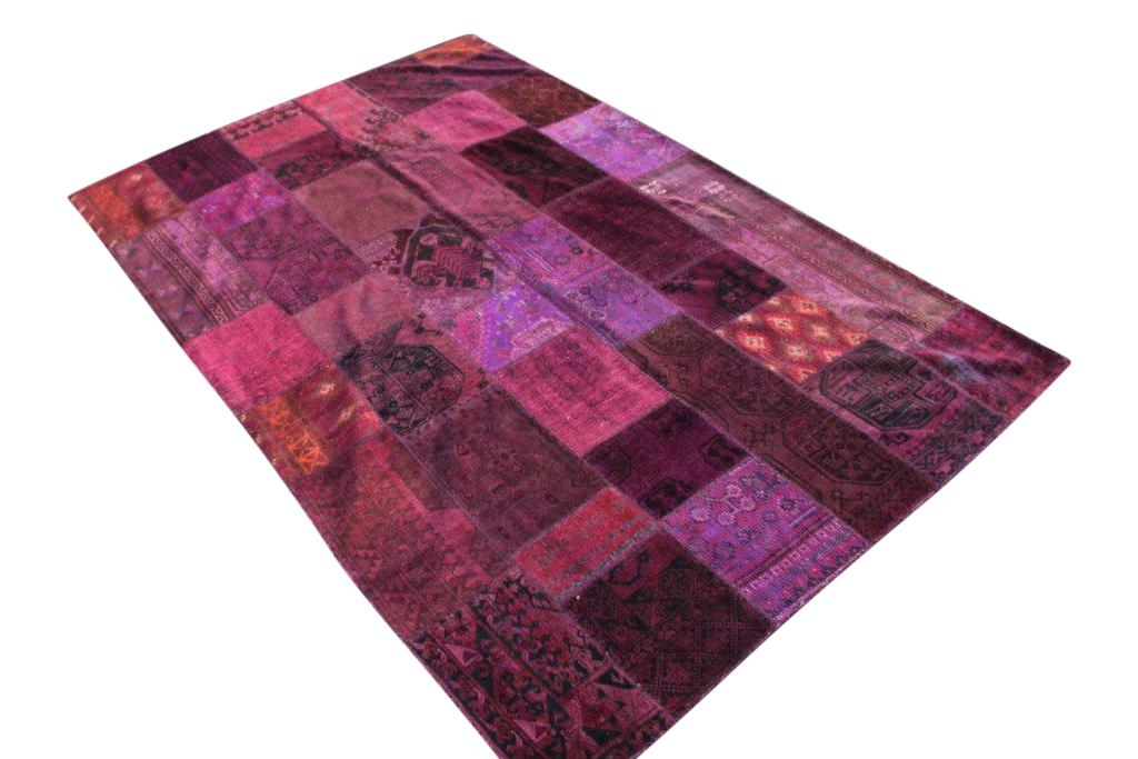 Patchwork vloerkleed, paars, 302cm x 197cm