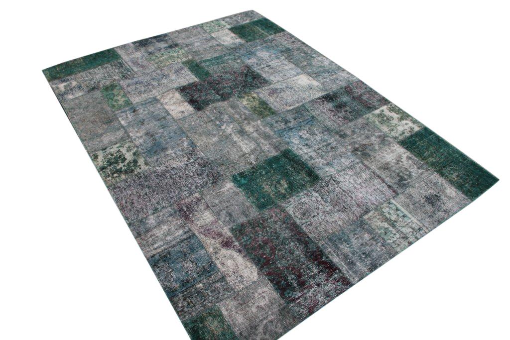 Patchwork vloerkleed, groen, 301cm x 222cm