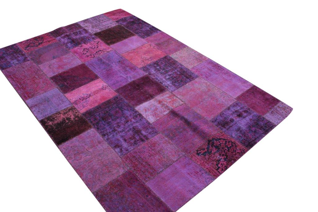 Patchwork kleed roze 297cm x 200cm, no 51235 gemaakt uit oude perzen.