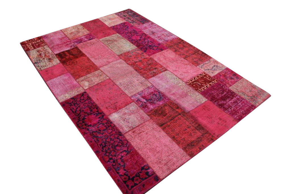 Patchwork kleed roze/rood 311cm x 210cm, no 51241 gemaakt uit oude perzen.