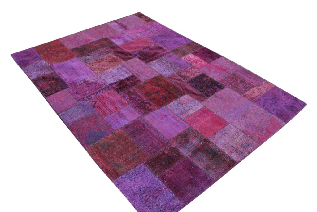 Patchwork kleed roze 300cm x 200cm, no 51242b gemaakt uit oude perzen.