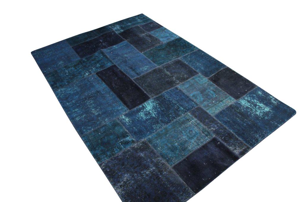 Donker groen/blauw patchwork vloerkleed uit Iran 301cm x 199cm, no 51245 gemaakt uit oude perzen.