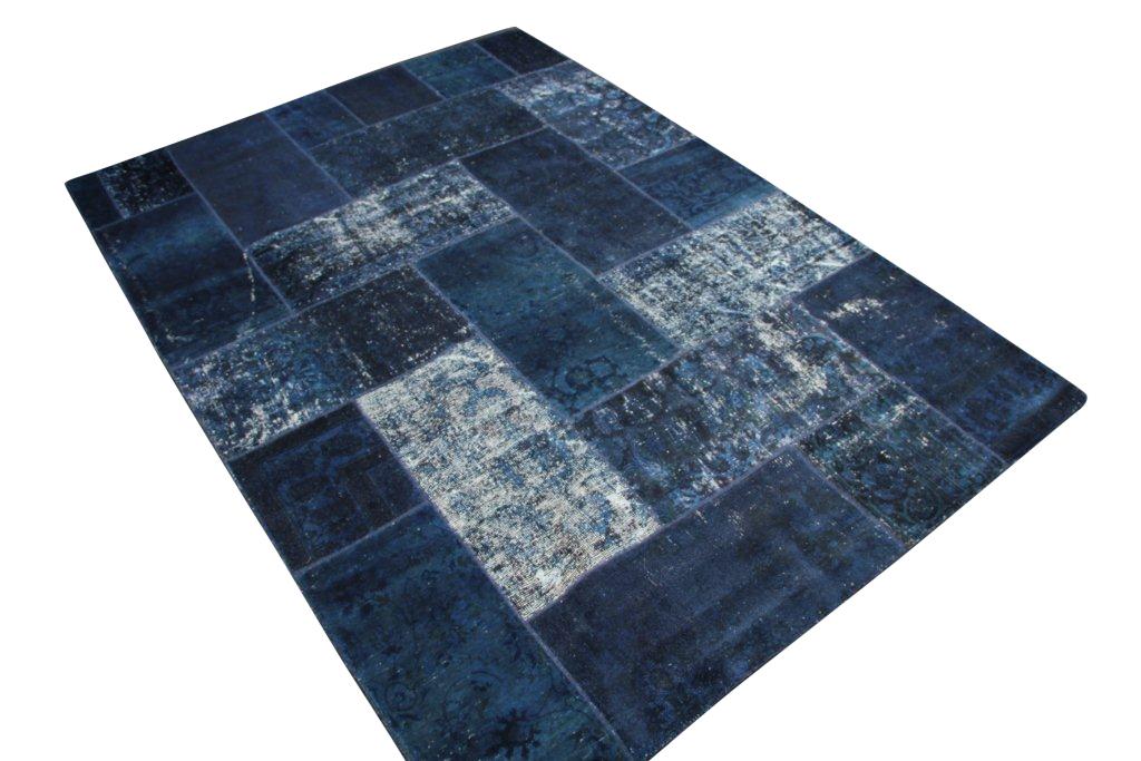 Patchwork vloerkleed donkerblauw 303cm x 214cm nr51246