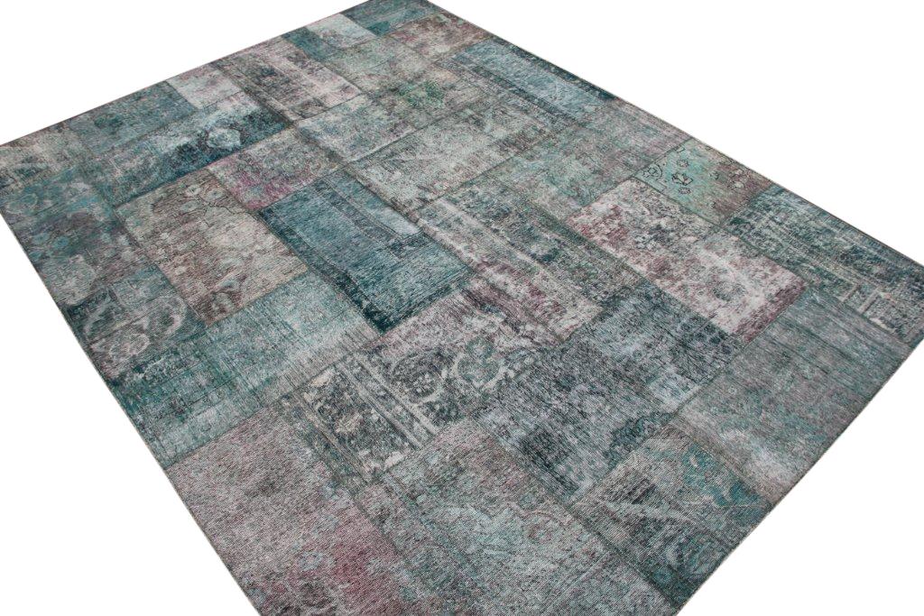 Patchwork vloerkleed, zeegroen, 342cm x 254cm