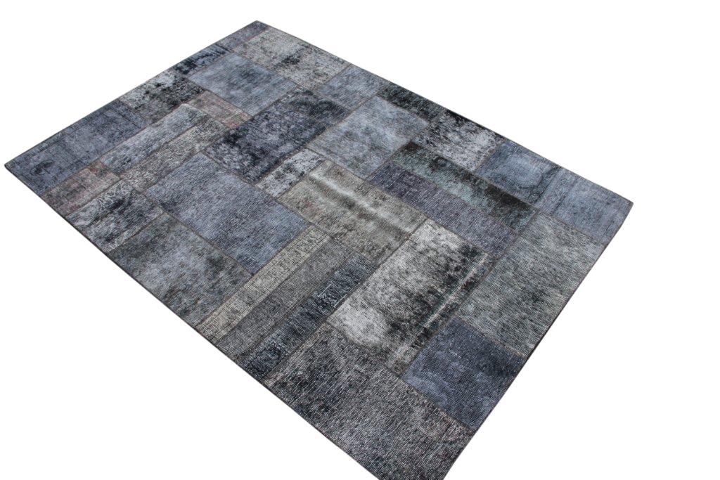 Patchwork vloerkleed grijs zwart 240cm x 170cm 51253