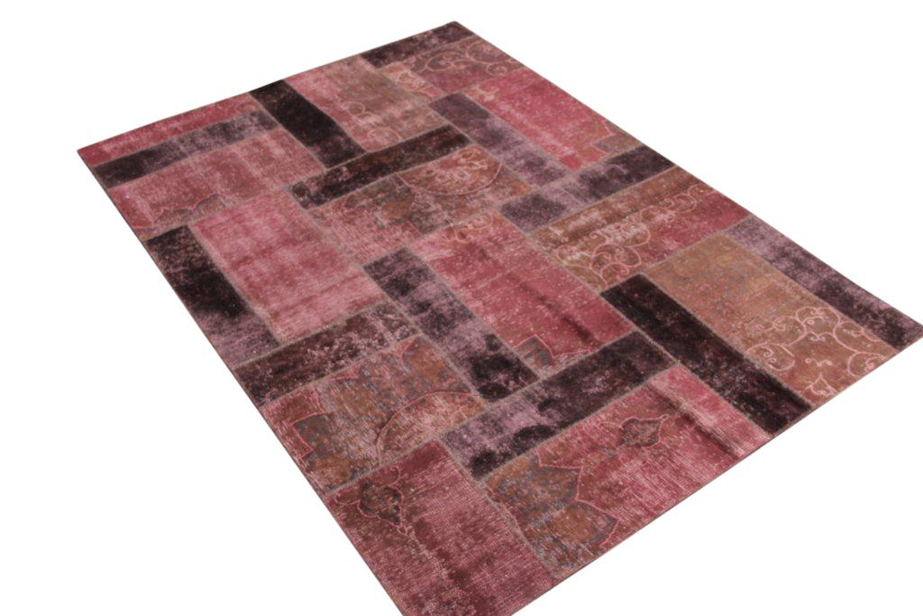 Patchwork vloerkleed, bruin met lichtbruin, 243cm x 172cm