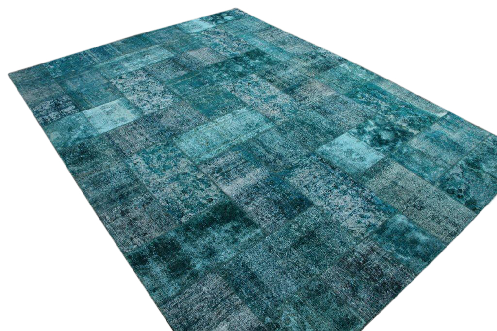 Patchwork vloerkleed, blauw, 396cm x 294cm