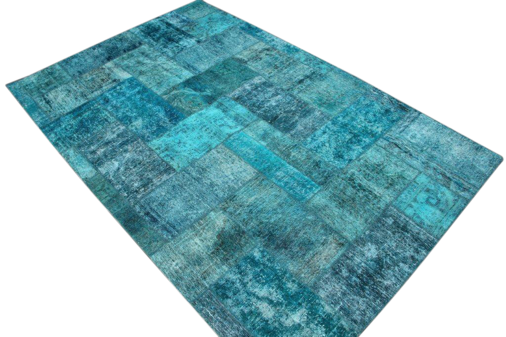 Patchwork vloerkleed, blauw, 309cm x 200cm
