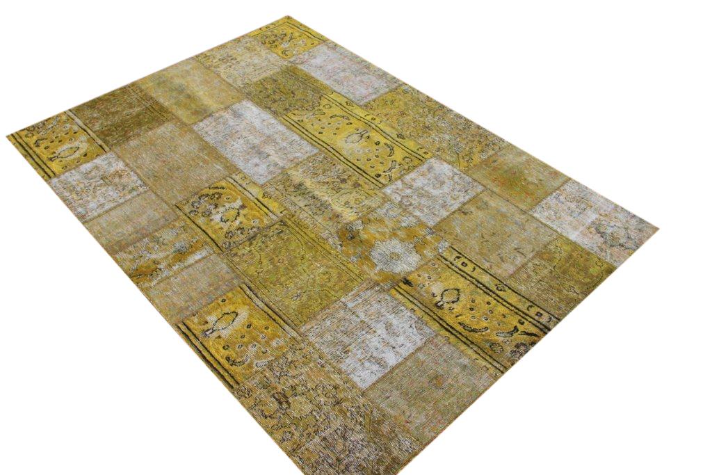 Patchwork vloerkleed, geel, 242cm x 170cm