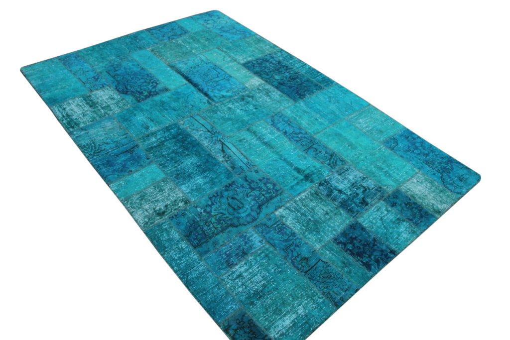 Patchwork kleed blauw 306cm x 203cm, no 51274 gemaakt uit oude perzen.