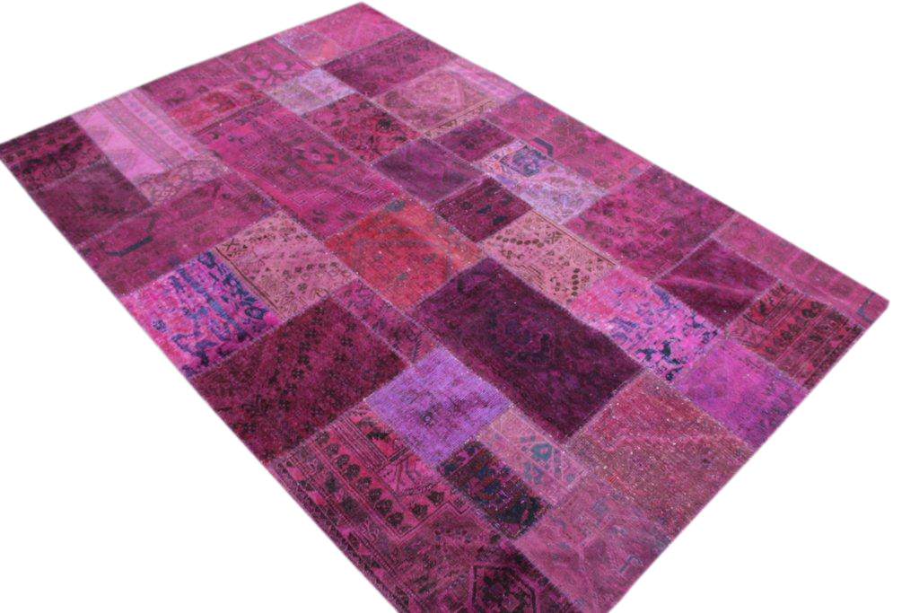 Patchwork kleed roze/paars 304cm x 202cm, no 51275 gemaakt uit oude perzen.