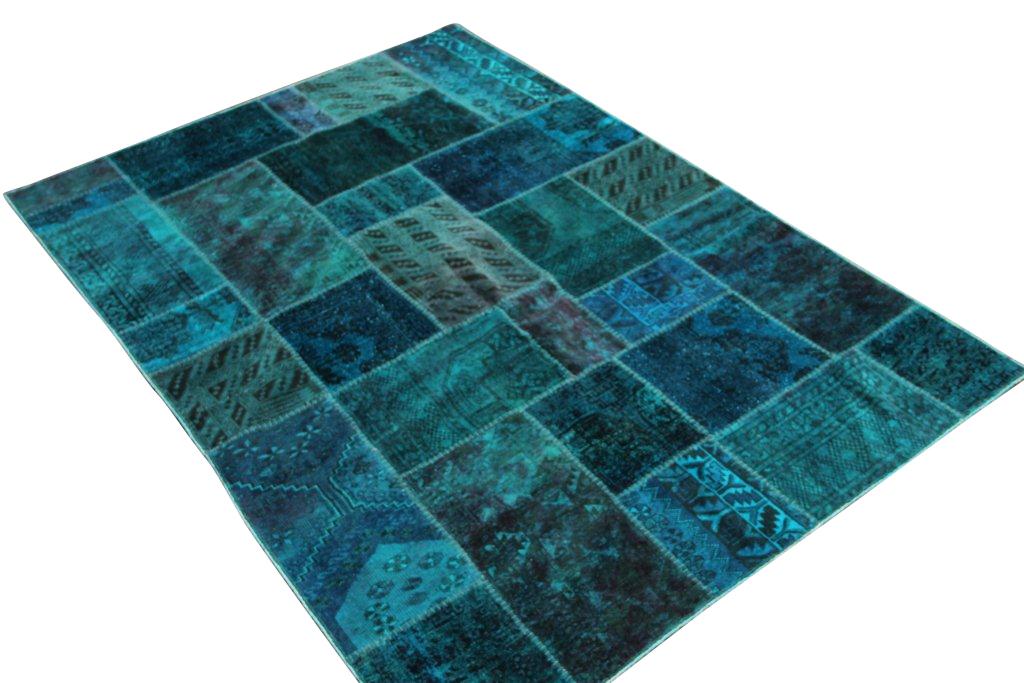 Donker zeegroen patchwork vloerkleed  238cm x 171cm, no 51282 gemaakt uit oude perzen.