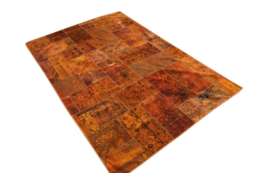 Patchwork vloerkleed, oranje, 294cm x 196cm (kleed bobbelt en heeft daarom een speciale prijs!)