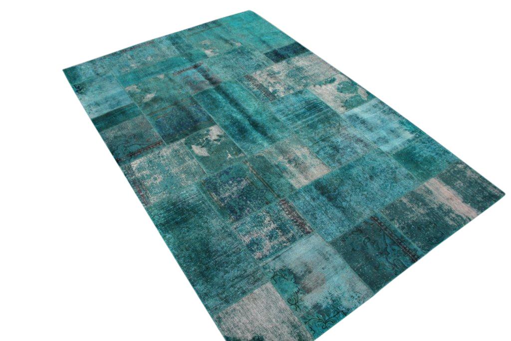 Zeegroen patchwork karpet  280cm x 185cm, no 51288 gemaakt uit oude perzen.