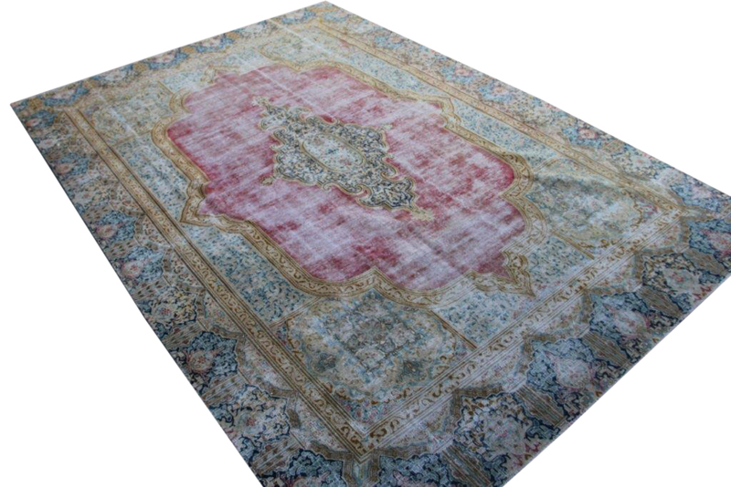 Recoloured vintage vloerkleed nr 51302 (396cm x 274cm)