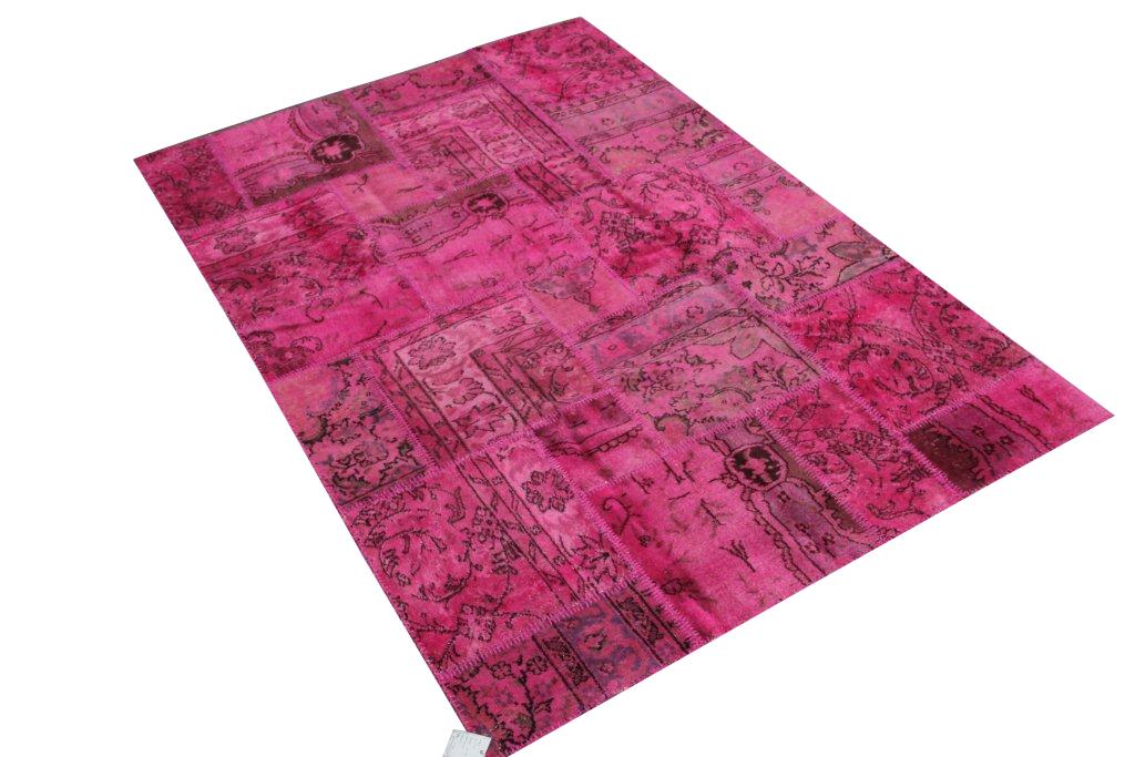 Patchwork kleden   5152  (231cm x 161cm) gemaakt van oude recoloured vloerkleden incl.onderkleed van katoen.