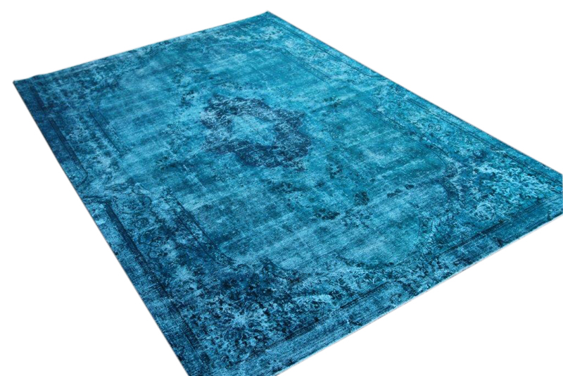 Fel blauw vintage vloerkleed nr 51651 ( 320cm x 220cm)