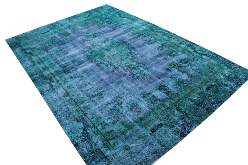 Zeegroen met blauw vintage vloerkleed nr 51652 ( 389cm x 264cm)