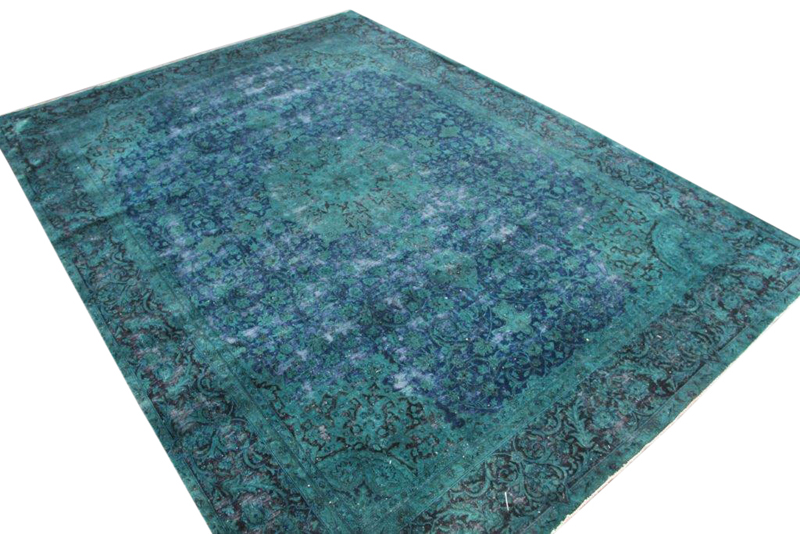 Zeegroen met blauw  klassiek kleed nr 51655 ( 398cm x 281cm)