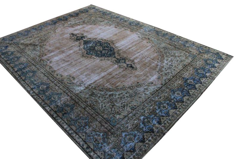 VERKOCHT naturel met blauw vintage vloerkleed nr 51669 ( 392cm x 290cm)