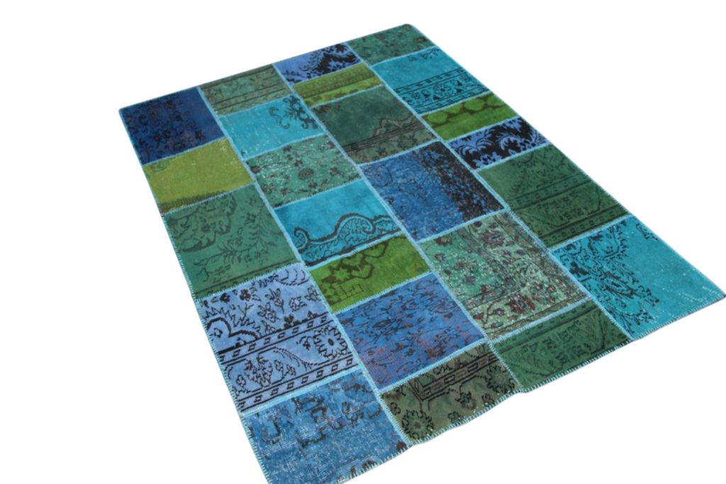 Groen aqua vintage patchwork vloerkleed 5032 (234cm x 170cm) gemaakt van oude recoloured vloerkleden