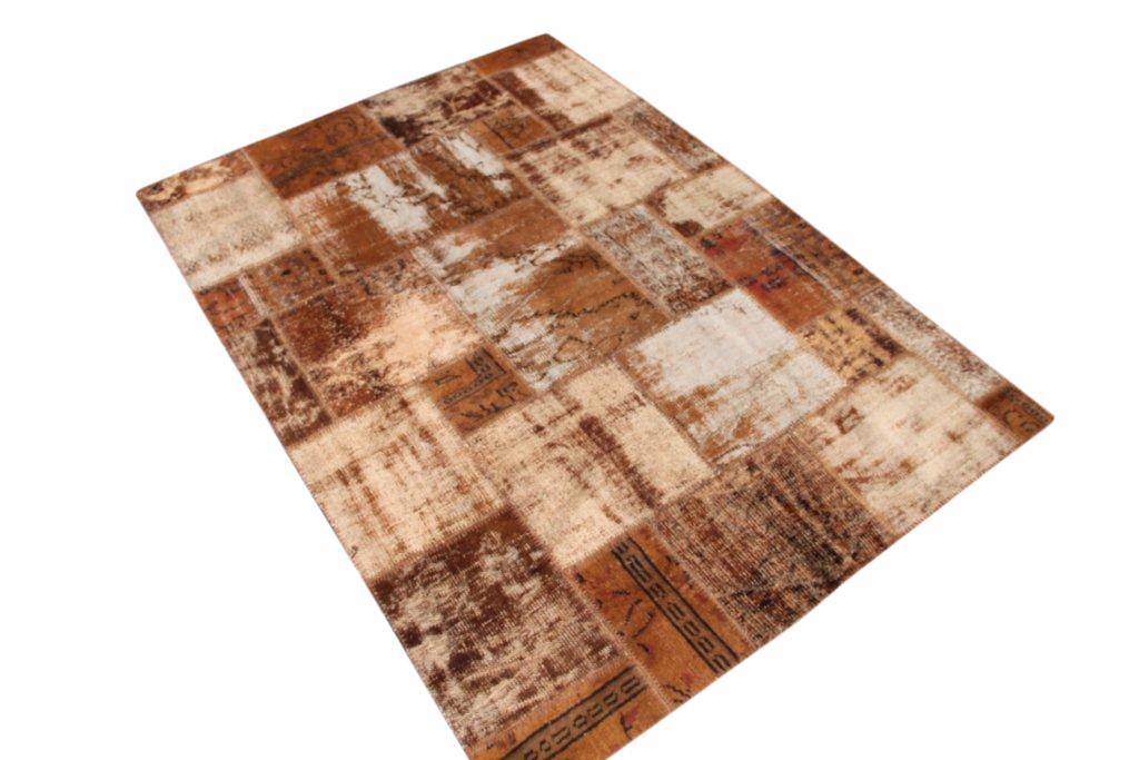 Bruin patchwork vloerkleed 5197D (240cm x 170cm) gemaakt van oude recoloured vloerkleden