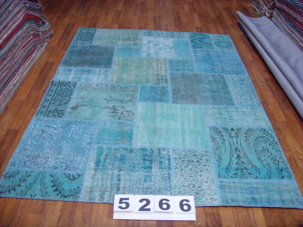 Patchwork kleden   5266  (240cm x 170cm) gemaakt van oude recoloured vloerkleden incl.onderkleed van katoen.